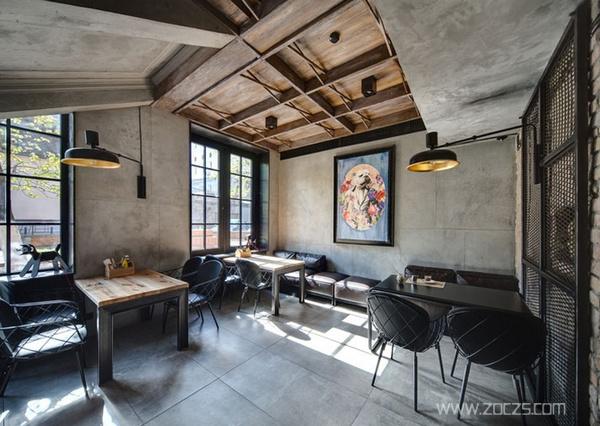 精致优雅的工业风格咖啡店装修设计